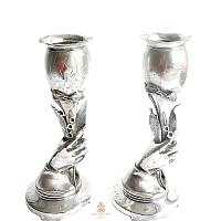 Antique Silver Plated Hand Lily of the Valley Vase
