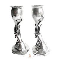 Antique Silver Plated Hand Lily of the Valley Vases Pair