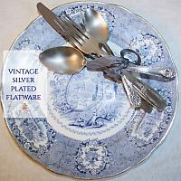 Vintage Silver Plate Flatware Five Piece Place Settings Set of 6