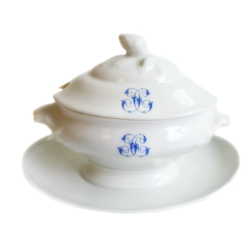 Antique French White Porcelain Sauce Tureen J C