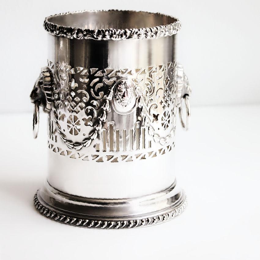 English Silver Plate Wine Bottle Holder with Regency Lion Handles
