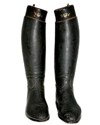 Antique French Black Leather Riding Boots Monogrammed Wood Form Inserts