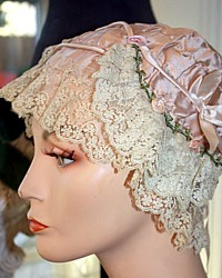 Rare Antique French Silk and Ribbonwork Lace Boudoir Cap