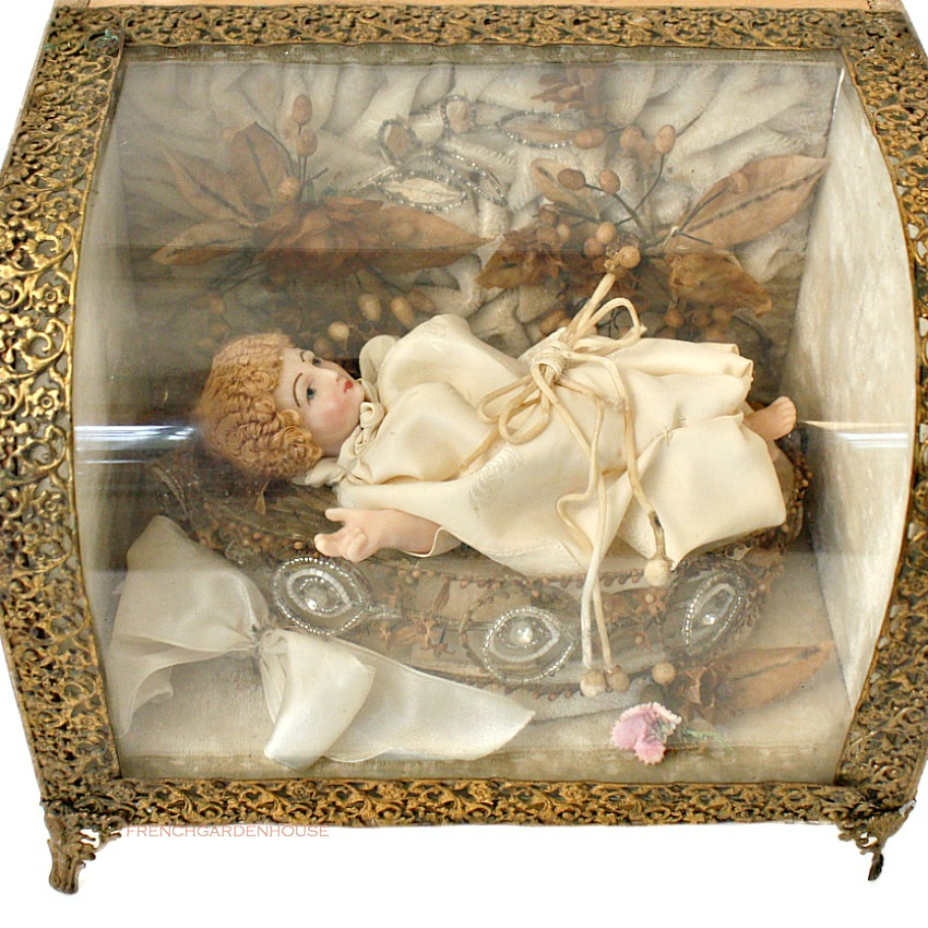 French Antique Wax Christ Child in Glass Vitrine