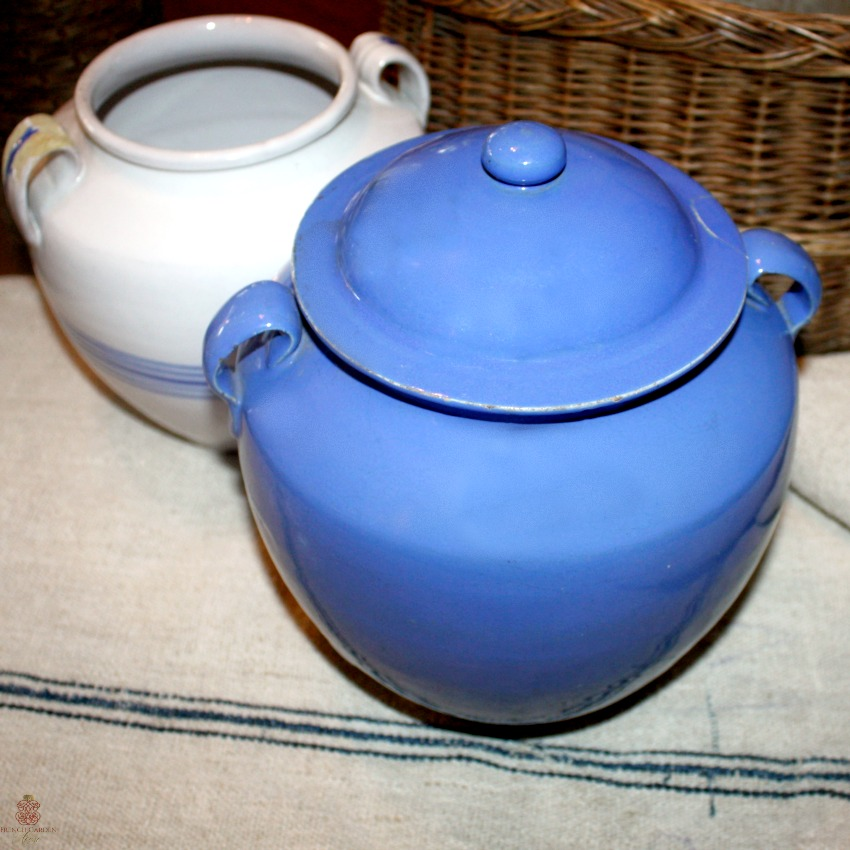 Antique French Blue Handled Confit Pot with Lid