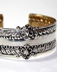 Antique Mid 19th Century French Sterling Silver & Vermeil Cuff Bracelet Karen Lindner