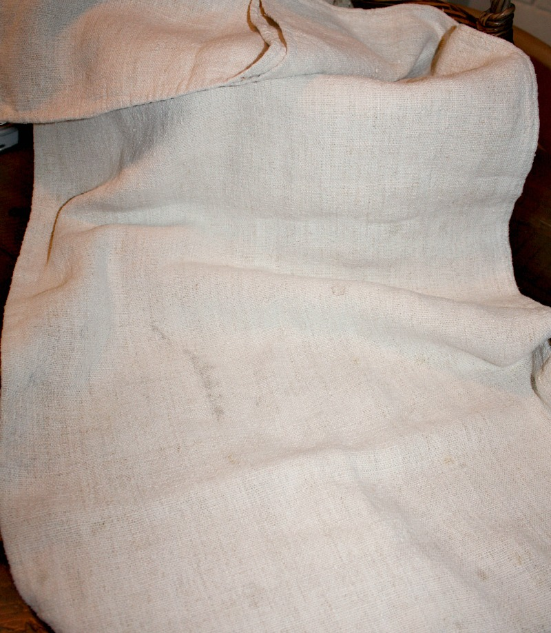 Antique French Hand Woven Linen Grain Sack Monogram K I