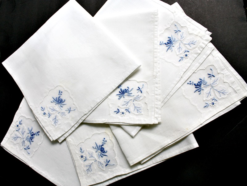 Heirloom Vintage Madeira Hand Embroidered Blue and White Napkin Set of 6