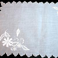 White Madeira Sheer Organdy Placemat and Napkin Set for 8