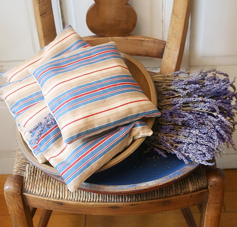 French Ticking Lavender Sachet Navy Striped