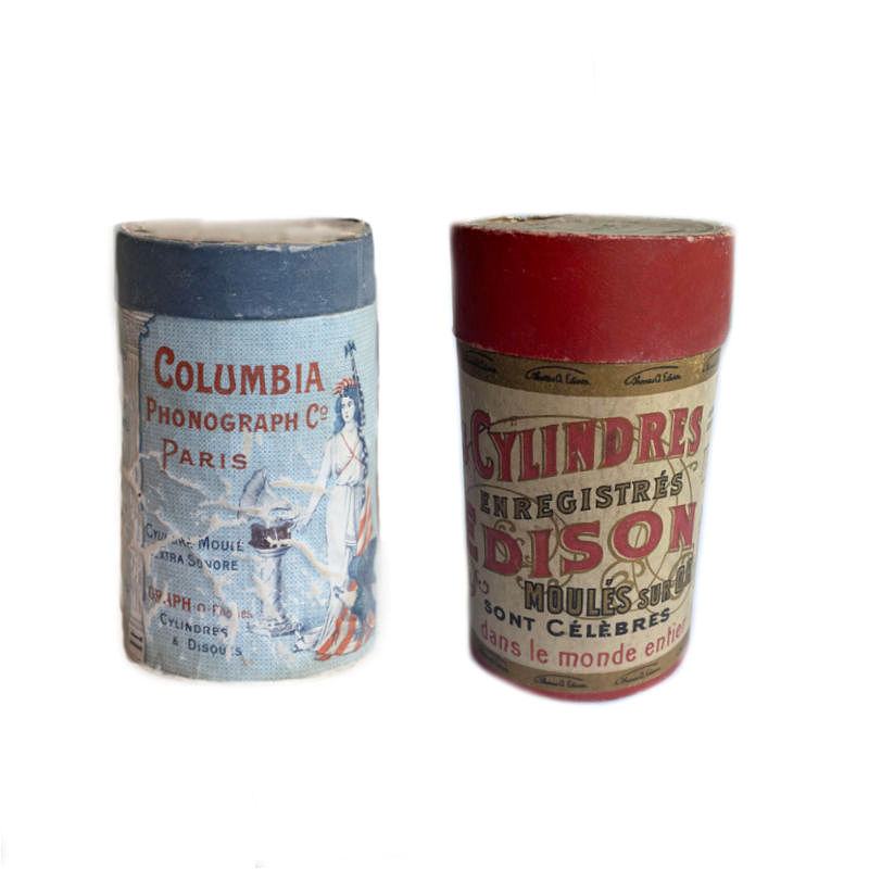 Antique French Phonograph Cylinders in Original Boxes Set of 2