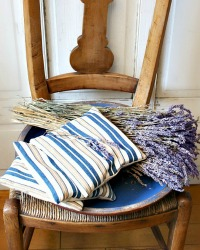 Antique French Ticking Lavender Sachet Blue Cafe Stripe