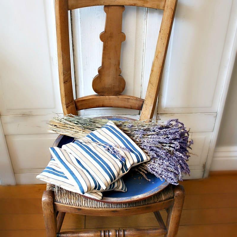 Antique French Ticking Lavender Sachet Blue Cafe Stripe