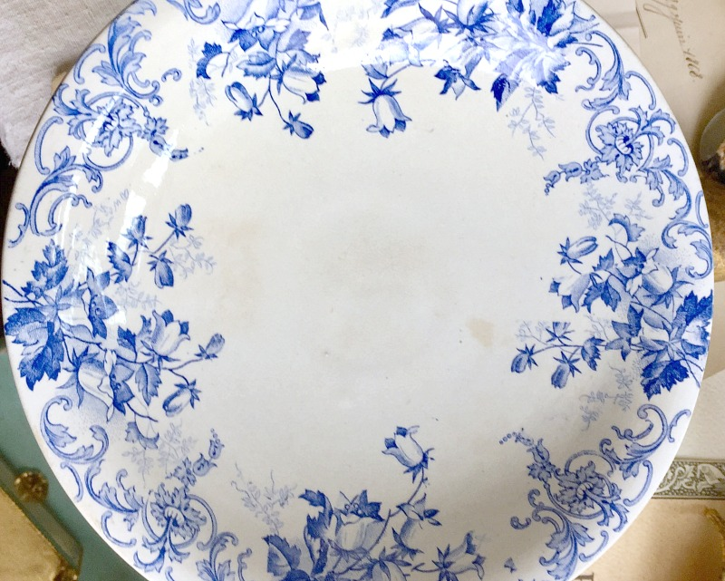 Antique French Ironstone Blue and White Floral Campanula Compote