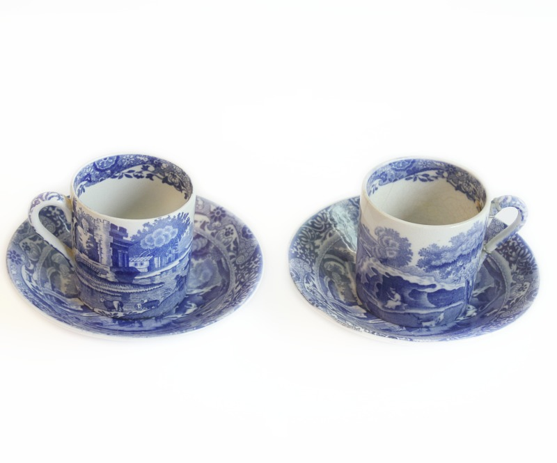 Antique Spode Blue and White Coffee Cup and Saucer Set of 2