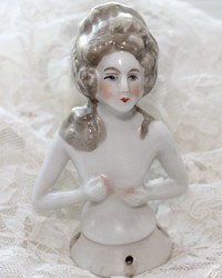 Large Vintage German Porcelain Half Doll