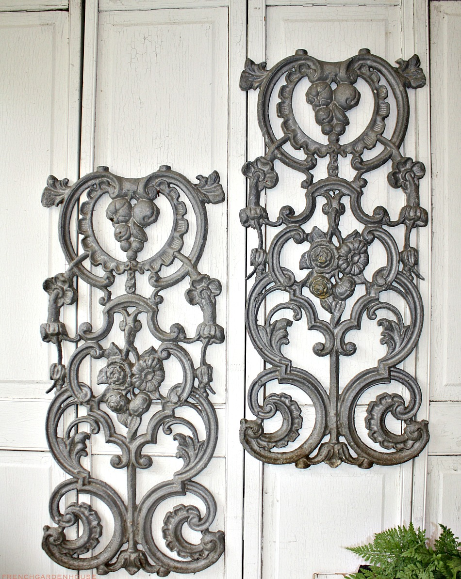 Antique Architectural Cast Metal Balusters Roses Pair