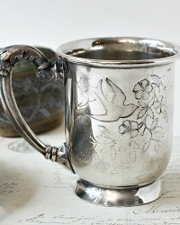 Antique Victorian Quadruple Silver Plate Baby Cup Birds