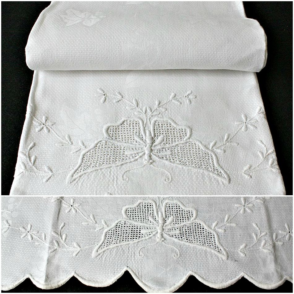 Antique Butterfly Hand Embroidered Linen Show Towel