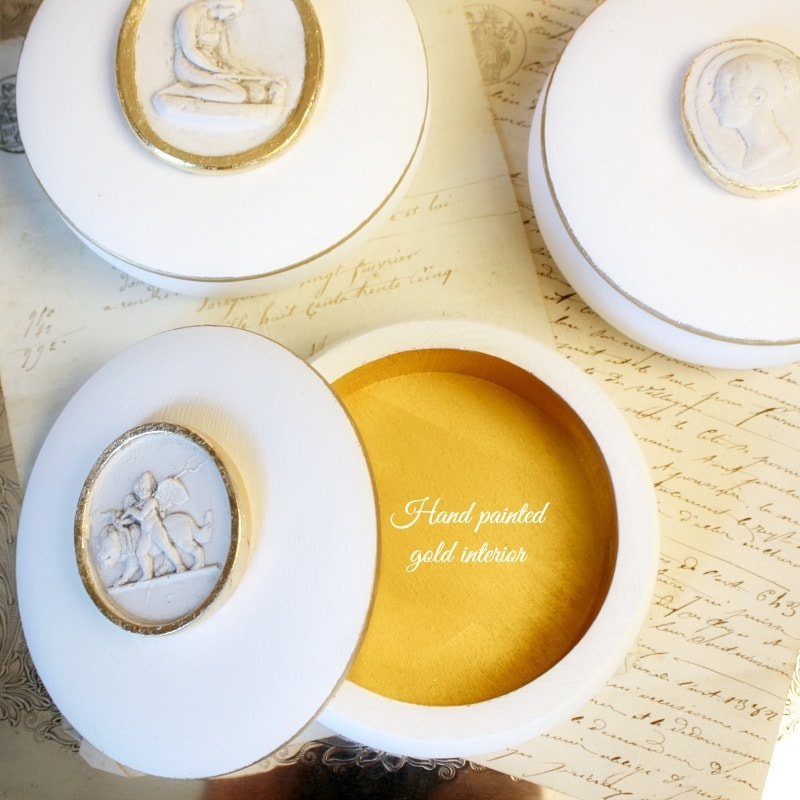 Artist Made Classic Plaster Relief Jewelry Box