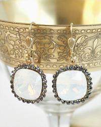 Gold & Moonstone Opal Border Cut Crystal Earrings