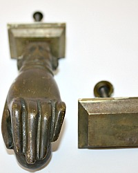 19th Century English Bronze Door Knocker with Hand and Ball Backplate