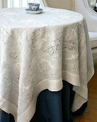 Vintage Grass Linen Hand Embroidered Supper Cloth