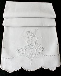 Antique Linen Floral Embroidered Show Towel