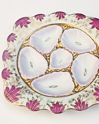 Antique 19th Century German Austrian Hand Painted Pink Oyster Plate Gilt Square