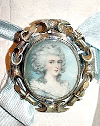 Antique French Swivel Portrait Locket Pin Brooch