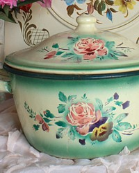 Antique French Rose Pansy Large Enamelware Covered Soup Tureen