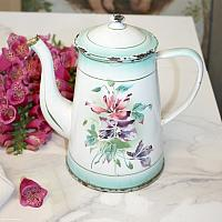 Antique French Enameled Coffeepot Clematis