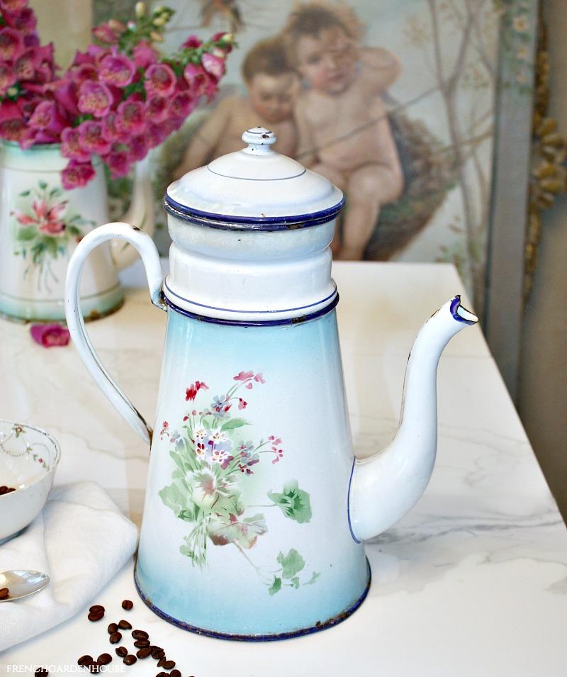 Antique French Enameled Biggin Cafetiere Woodland Violets