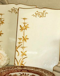 Antique French Biscuit Porcelain Menu Holder Board Gilt