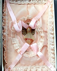 Antique 1920's Pink Baby Christening Gift Card Souvenir