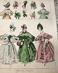 Antique French Early 19th Century Hand Colored Fashion Lithograph March 3