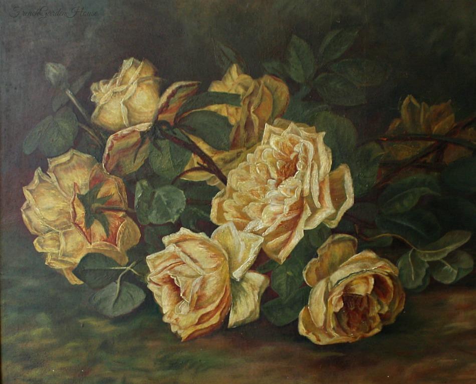 19th Century Antique Gold Rose Oil Painting Original Gilt Wood Frame