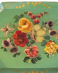 Antique Green Victorian Rose Floral Tole Toleware Tray