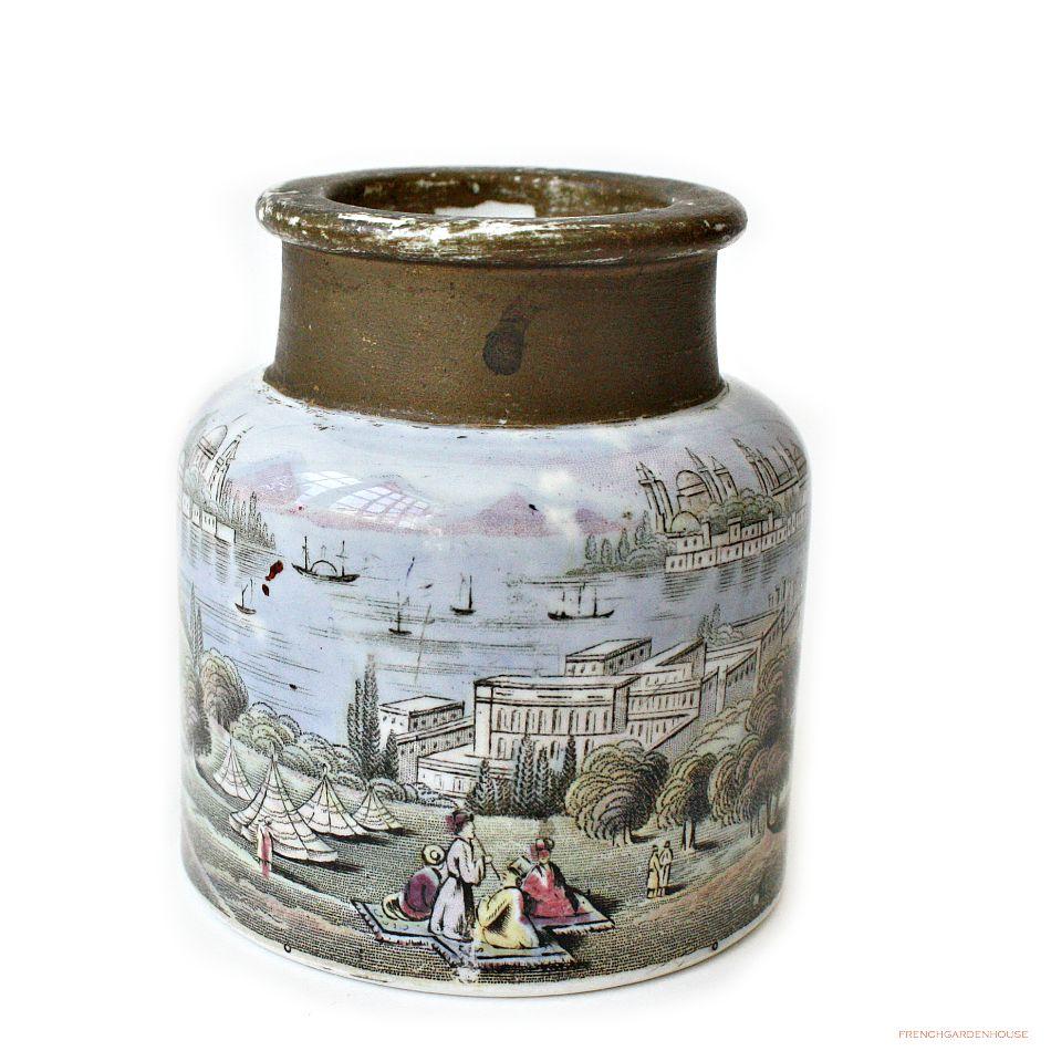 Antique Ironstone Transferware Ink Pot