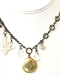 Antique Edwardian Monogrammed Gold Locket M L E Necklace