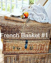 Antique French Brocante Market Basket Storage