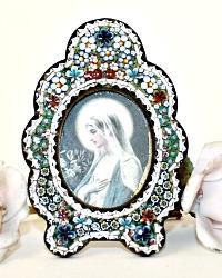 Antique Edwardian Grand Tour Micro Mosaic Frame with Madonna