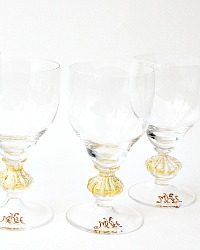 Venetian Murano Gold Monogrammed Glasses Set of 4