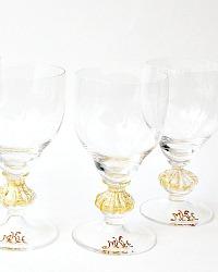 Antique Venetian Murano Gold Monogrammed Glasses Set of 4