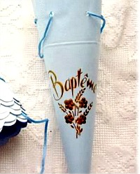 Antique French Baptism Favor Candy Store Chocolate Cone
