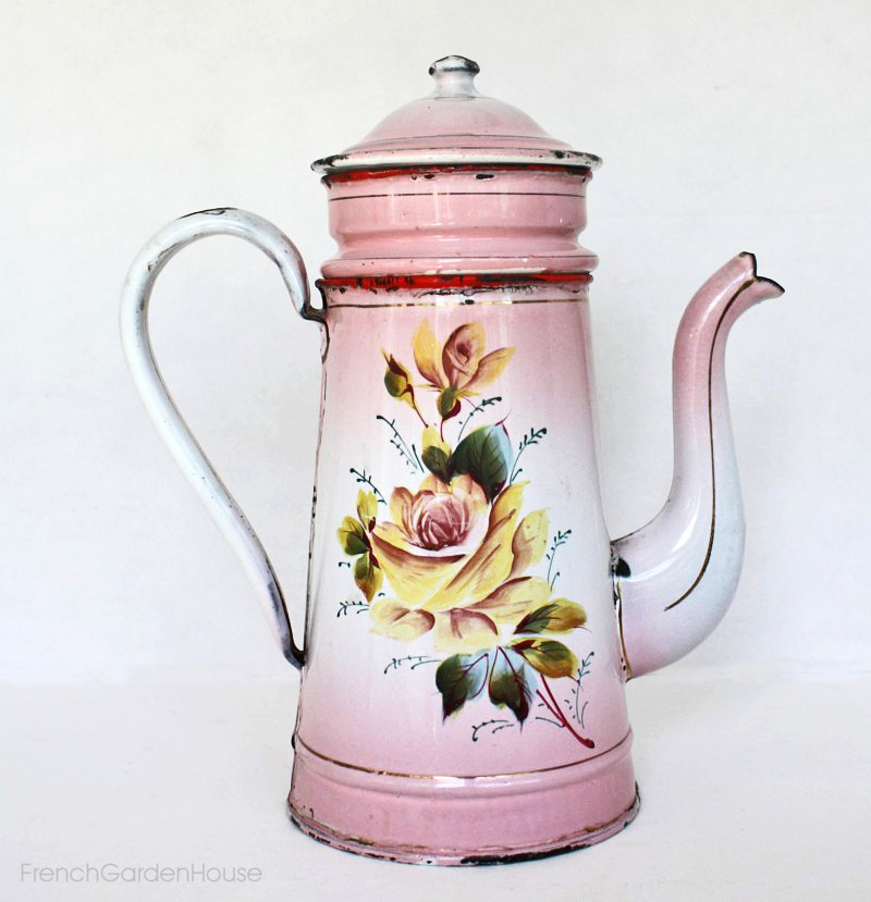 Antique 19th Century French Enamelware Pink Floral Biggin Cafetiere
