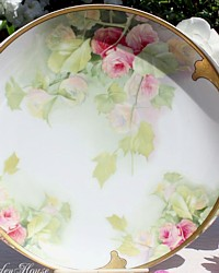 Antique Rosenthal Hand Painted Donatello Pink Roses Gilt Cake Serving Platter