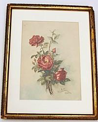 Antique 1907 Original Floral Rose Watercolor Painting Gilt Frame
