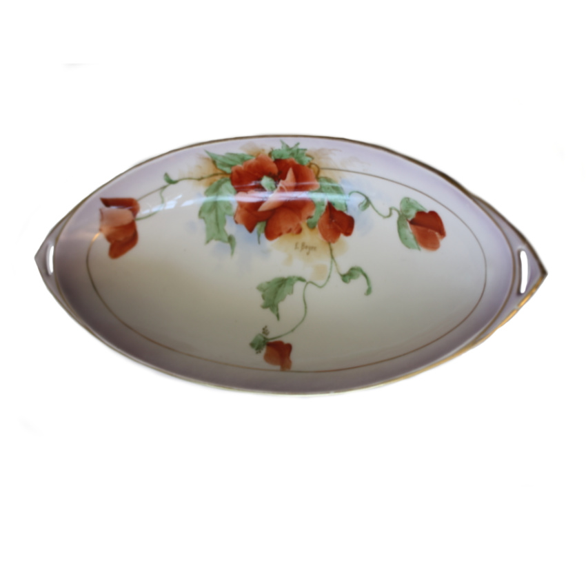 Antique Hand Painted Art Nouveau Celery Dish Poppies