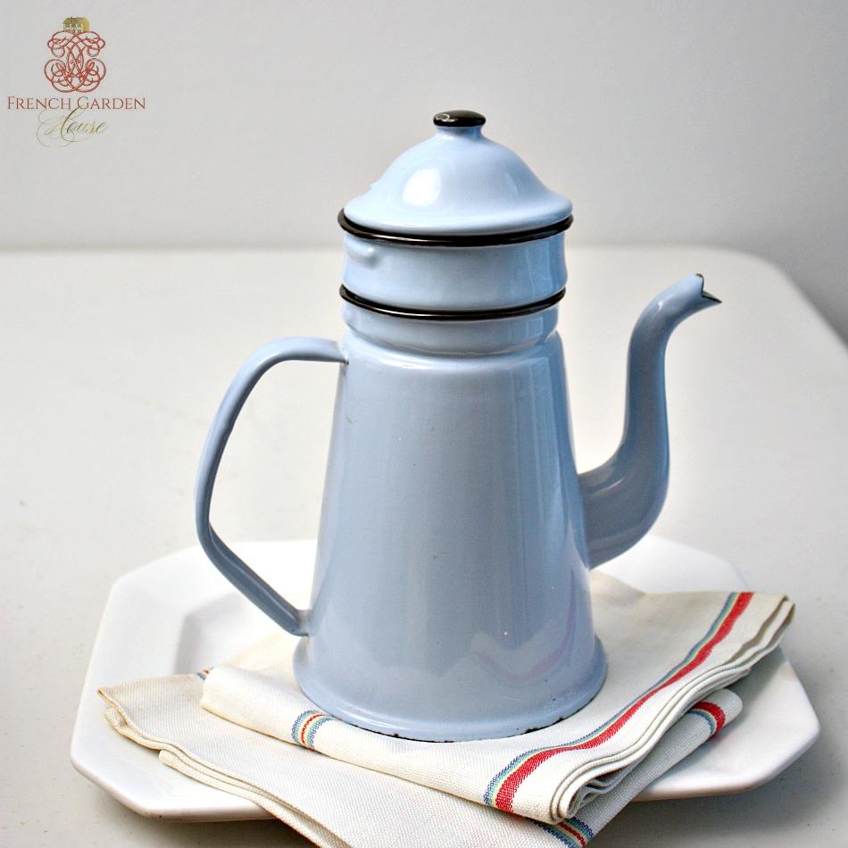 Antique French Enamel Blue Coffee Pot Biggin